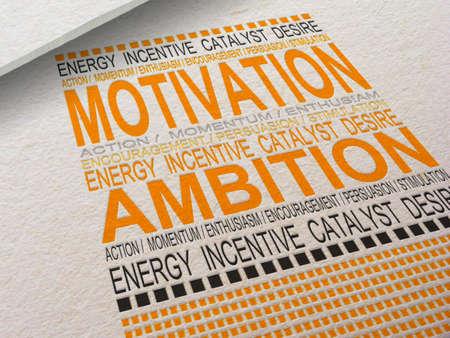 Het woord motivatie Letterpressed in papier met bijbehorende woorden eromheen.