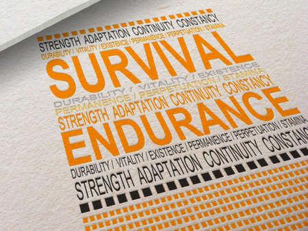 Het woord Survival Letterpressed in papier met bijbehorende woorden eromheen.