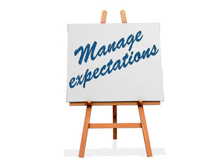 expectations: Manage Expectations on a sign. Stock Photo