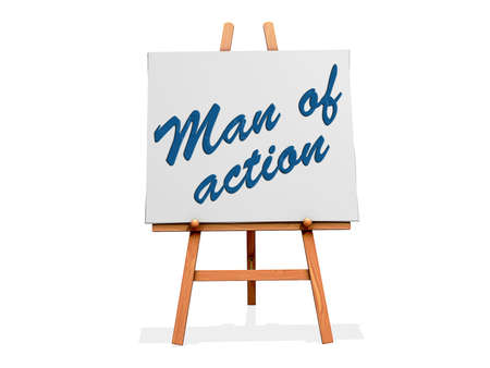 Man of Action on a sign.