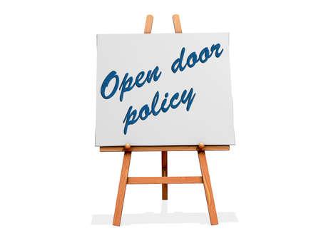 看板の開いたドア政策。 写真素材