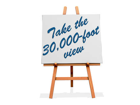 Take the 30,000-foot View on a sign. Stock Photo