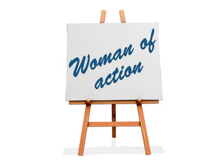 resourcefulness: Woman of Action on a sign. Stock Photo
