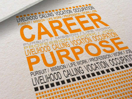 The word Career letterpressed into paper with associated words around it.