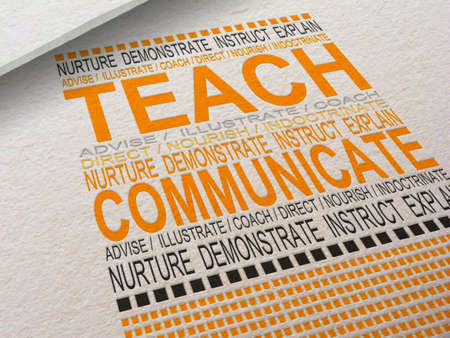 indoctrinate: The word Teach letterpressed into paper with associated words around it.