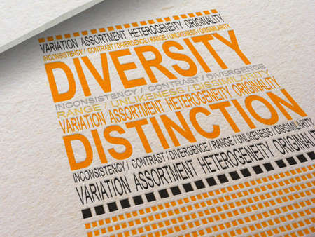 the heterogeneity: The word Diversity letterpressed into paper with associated words around it  Stock Photo