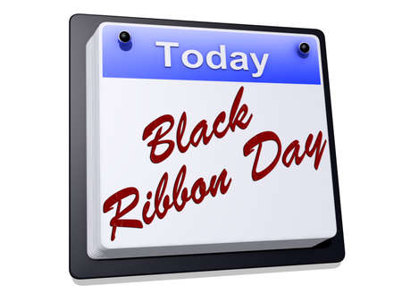 One day Calendar with  Black Ribbon Day  on a white background.