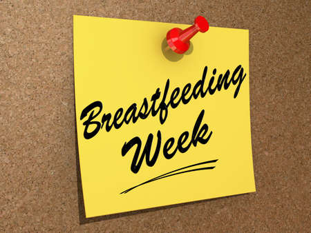 A note pinned to a cork board with the text Breastfeeding Week.