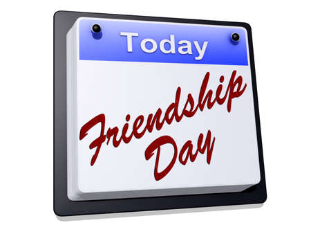 One day Calendar with  Friendship Day  on a white background. Stock Photo