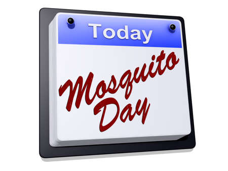 One day Calendar with  Mosquito Day  on a white background. Stock Photo