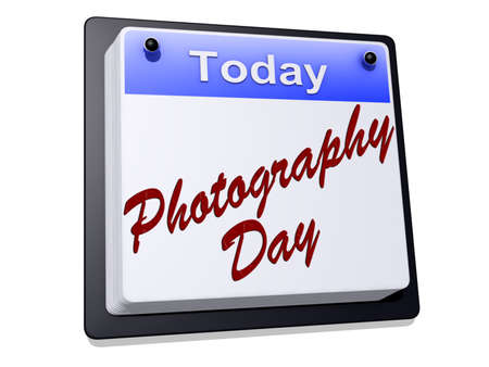 One day Calendar with  Photography Day  on a white background.
