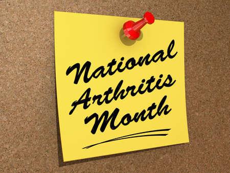 Een nota vastgemaakt aan een kurk bord met de tekst National Arthritis Maand Stockfoto