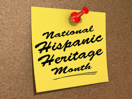 A note pinned to a cork board with the text  National Hispanic Heritage Month