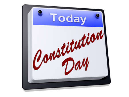 One day Calendar with Constitution Day on a white background