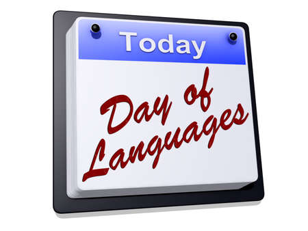 One day Calendar with Day of Languages on a white background Stock Photo