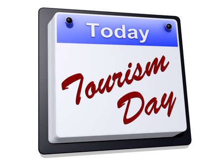 One day Calendar with Tourism Day on a white background