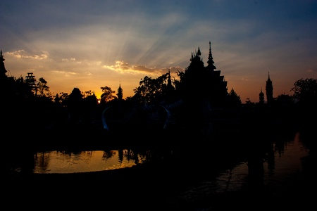Silhouette Rongkhun Temple ,Chiang Rai Thailand
