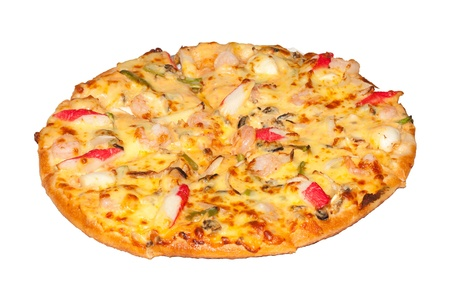 Isolated seafood pizza