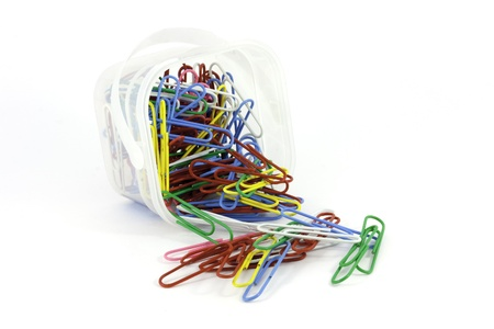 isolated colorful paper clips in a box photo