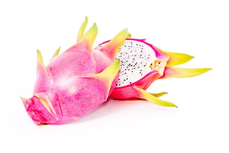 isolated sliced dragon fruit on white background photo