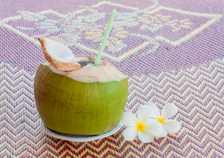 closed up sweet young coconut drink photo