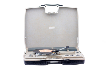 Retro portable turntable isolated on white