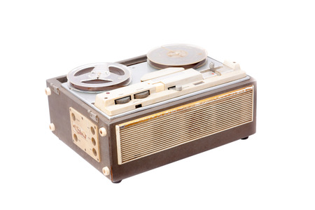 old portable reel to reel tube tape-recorder isolated on white Stock Photo