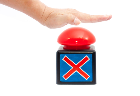 hand push a red button for show wrong sign