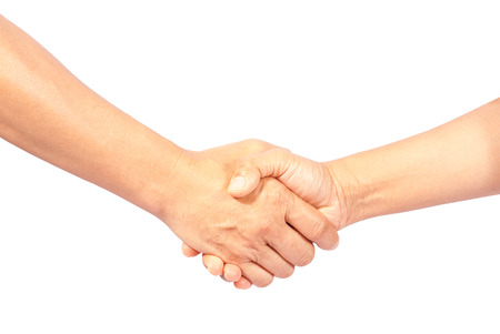 asia man and woman shaking hands, isolated on white Stock Photo