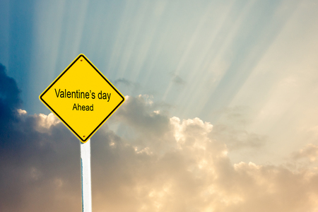 traffic sign show to aware valentine day with cloud and sky  photo
