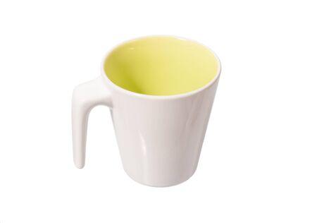 white ceramic mug isolated on white Stock Photo