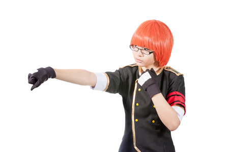 cute asia girl with red wig while boxing Stock Photo