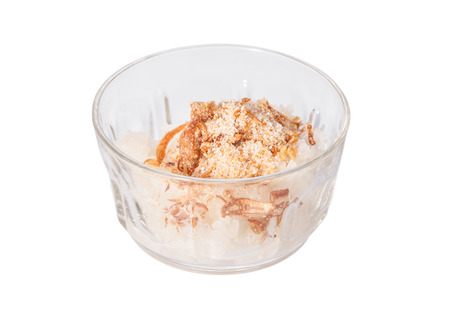 thai dessert, streamed ricestick with coconut milk and sweet food topping
