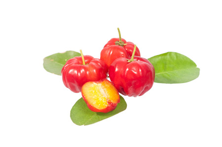 acerola on their leaf isolated on white