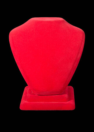 Realistic red stands for jewelry isolated on black