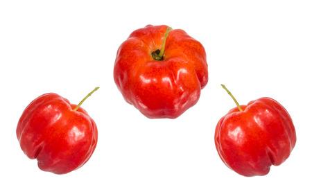 Acerola-Frucht, die isoliert auf weiß Standard-Bild - 32054419