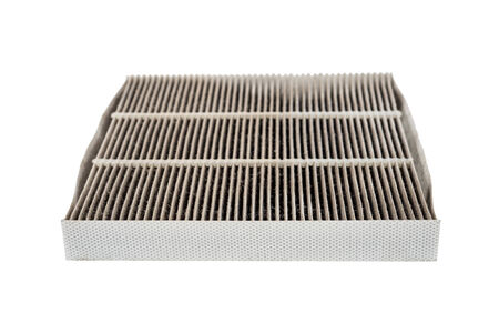 dirty car aircondition filter isolated on white