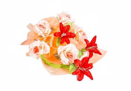 artificial bouquet flower isolated on white