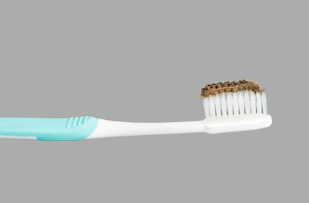 potatoria: toothbrush with many venomous spines caterpillar look like toothpaste isolated on gray background Stock Photo