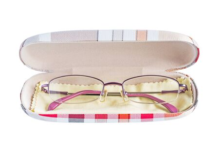fancy box: eyeglasses in fancy box isolated on white Stock Photo