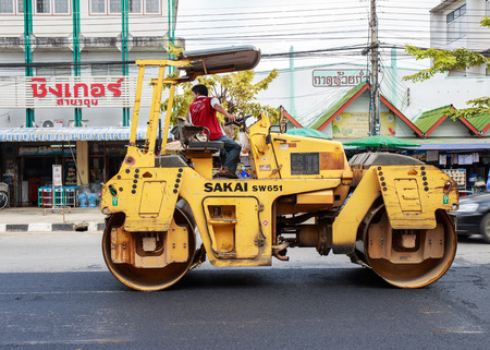 roller compactor: Light Vibration roller compactor while construction at road number 1021 Phayao, Thailand on December 7, 2015.