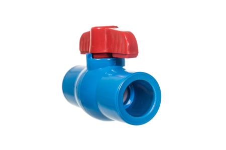 half ball: PVC ball valve isolated on whte Stock Photo