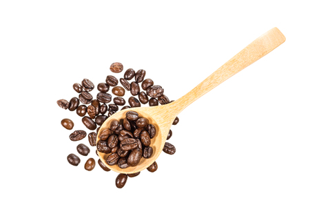 roasted coffee bean with wooden spoon isolated on white