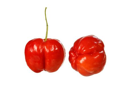 acerola cherry fruit isolated on white