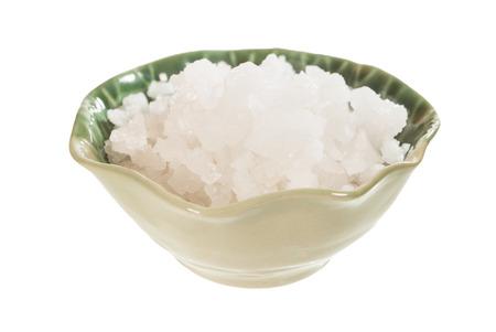 sea salt in ceramic bowl  isolated on white