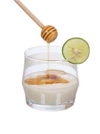 yogurt with slice lemon and filling honey