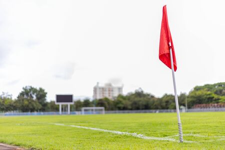 red corner flag of soccer field Standard-Bild - 131702537