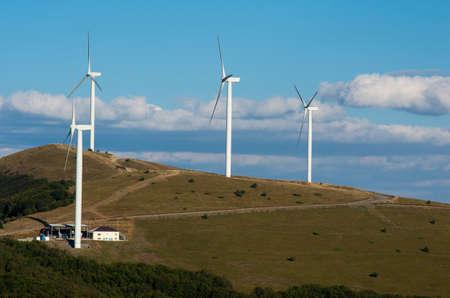 obtaining: Horizontal wind turbines.  Renewable energy. Obtaining electricity from wind.
