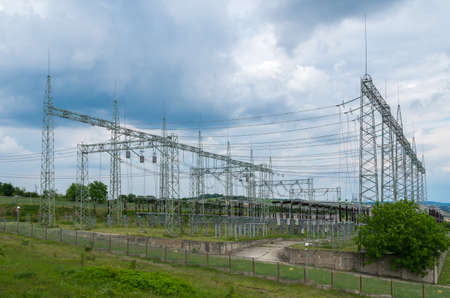 switches: Electricity. High-voltage substation with switches and disconnectors. Stock Photo