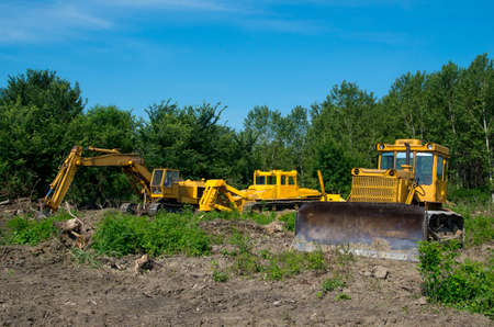 eradication: Mechanical Site Preparation for Forestry. Excavator and bulldozer clearing forest land. Stock Photo